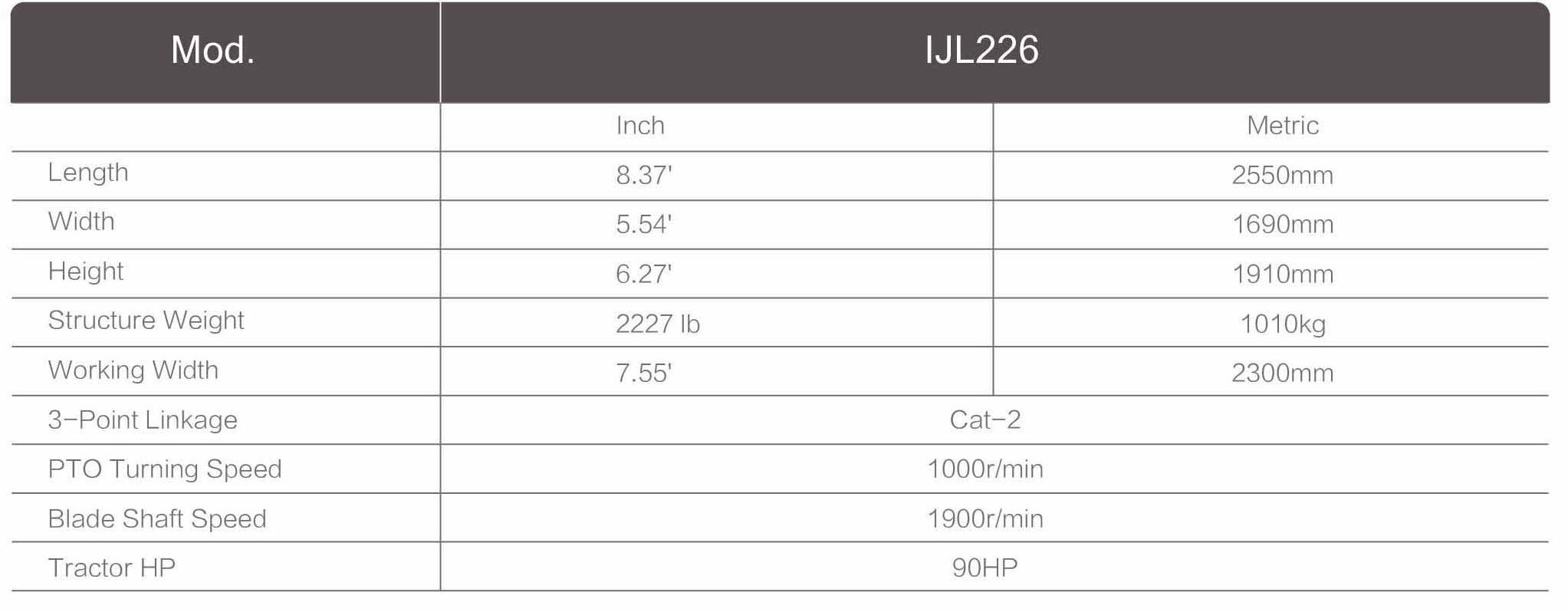 1JL226 tab - Лесной и парковый мульчер1JL226.  DOBERKMET